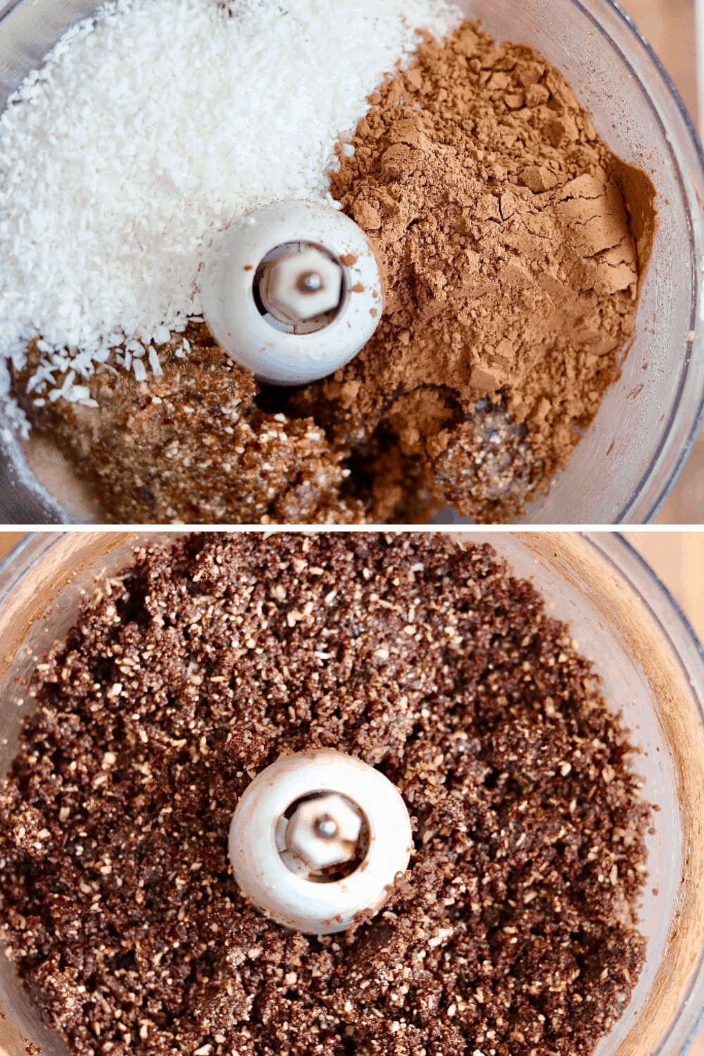 chocolate coconut date mixture mixed in food processor