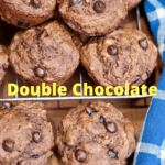 double chocolate banana muffins cooling on a wire rack