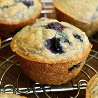 vegan blueberry muffins on a cooling rack