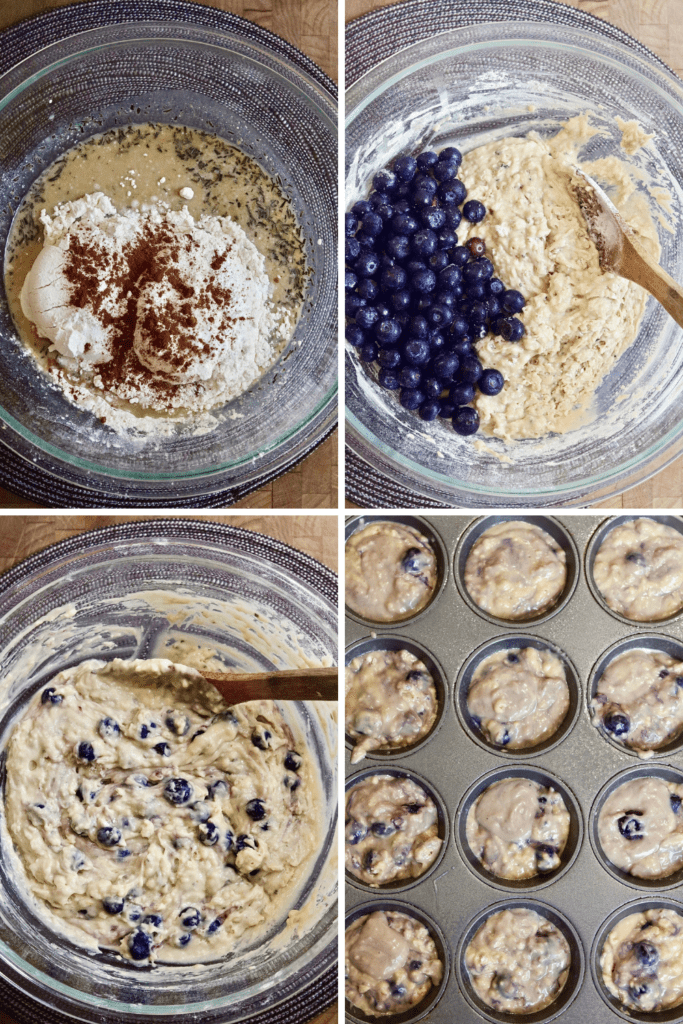 step by step photos how to make vegan blueberry muffins