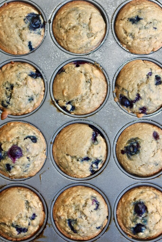 blueberry muffins baked and cooling in pan