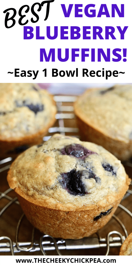 vegan blueberry muffins cooling on rack
