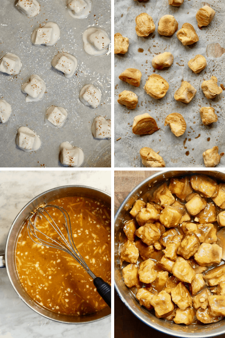 step by step photos how to make vegan orange chicken with tofu
