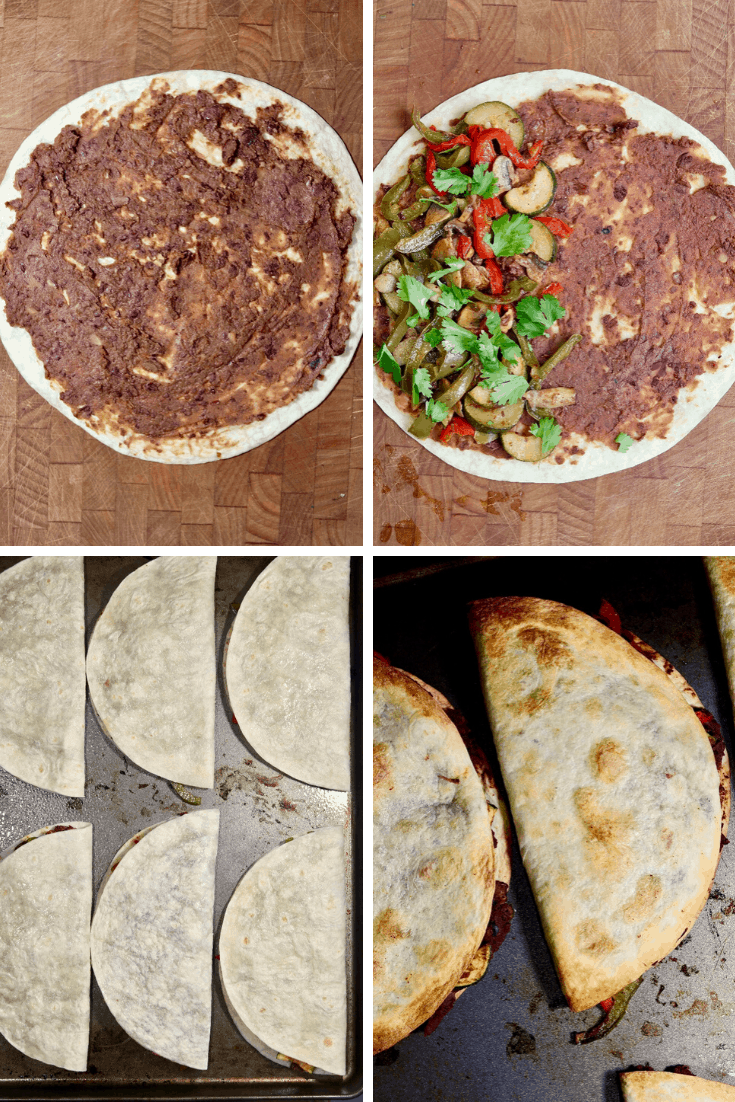 step by step photos how to make and assemble vegan quesadillas