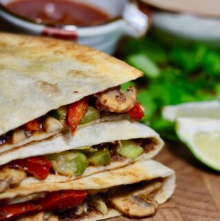 a stack of three vegan quesadillas