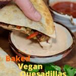 vegan quesadillas being dipped in sauce