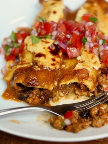 two vegan enchiladas on a white plate with a fork