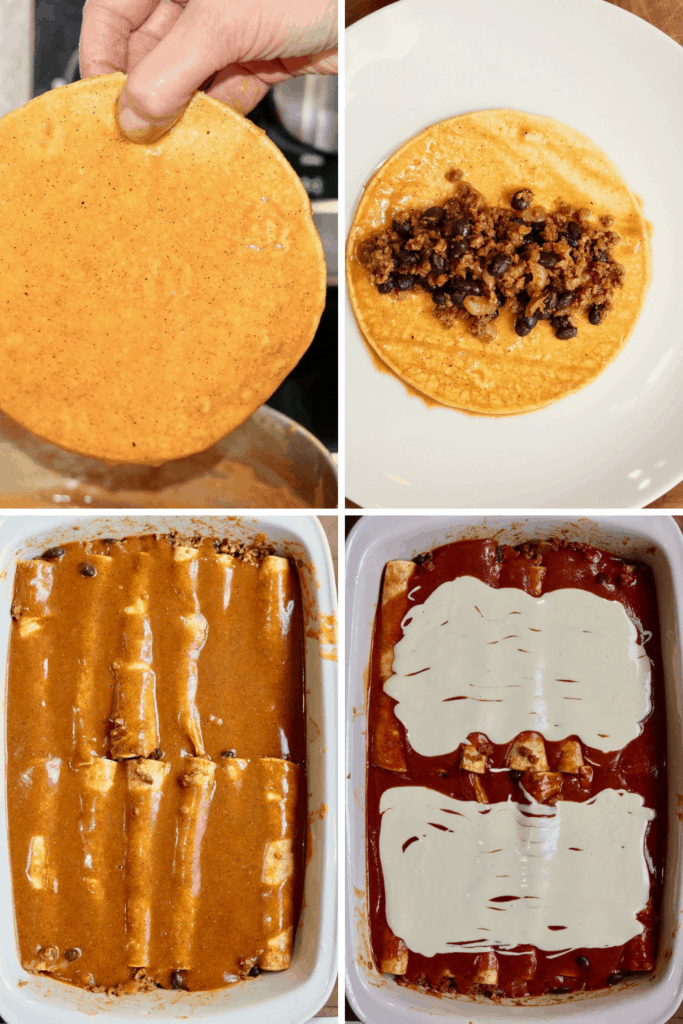 step by step photos how to assemble vegan enchiladas
