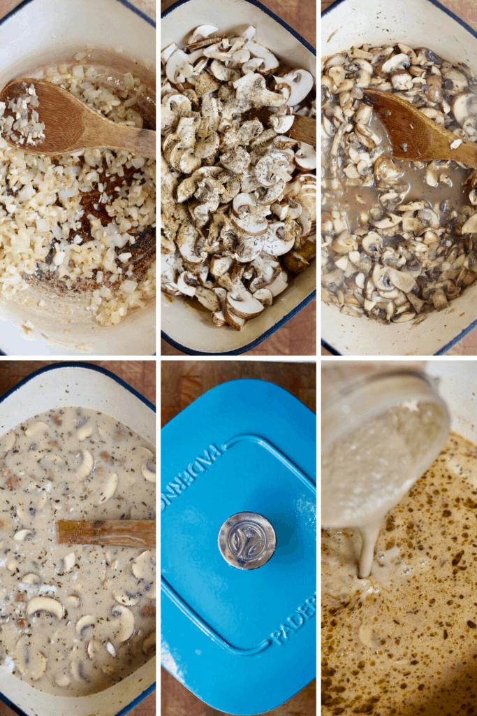 step by step photos how to make vegan cream of mushroom soup