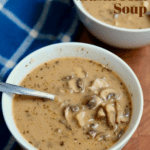 vegan mushroom soup in a white bowl with a spoon