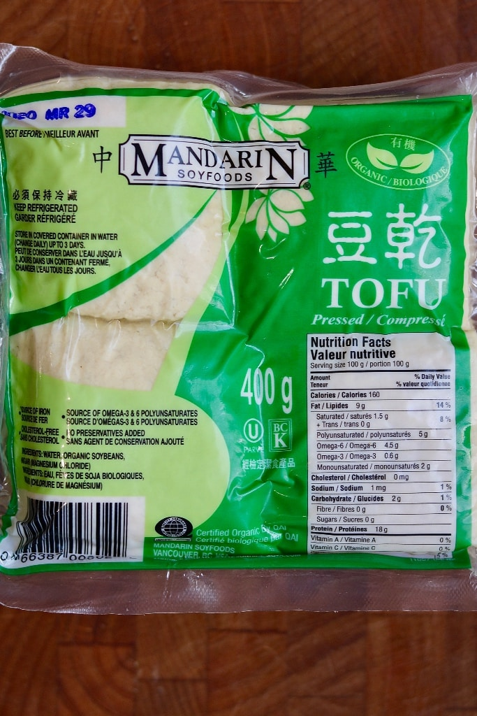 package of pre pressed tofu on a counter