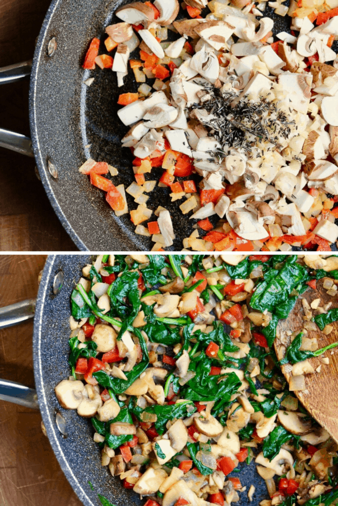 step by step photos cooking vegetable mix in skillet