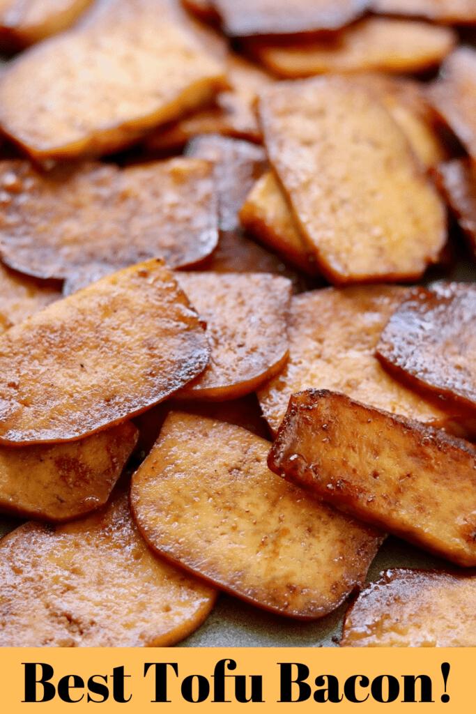 tofu bacon piled on a sheet pan