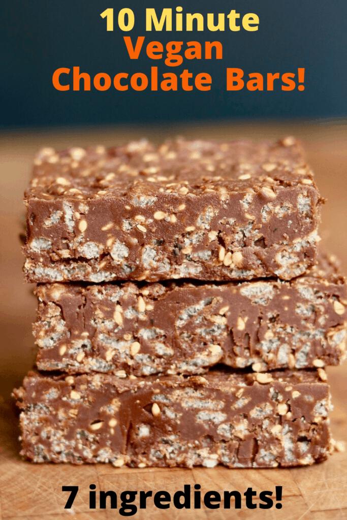 three homemade vegan chocolate bars stacked