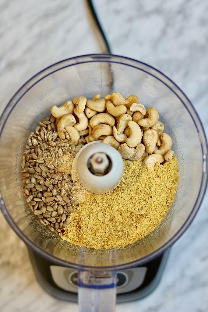 ingredients for vegan parmesan in a food processor