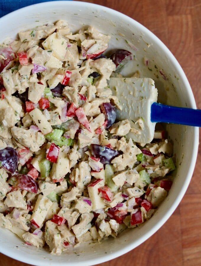 vegan chicken salad in a white bowl