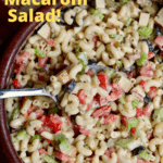 vegan macaroni salad in a wooden salad bowl