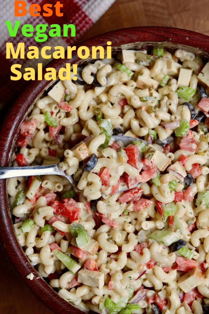 vegan macaroni salad in a wooden salad bowl
