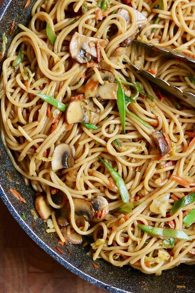 teriyaki noodles in a large skillet