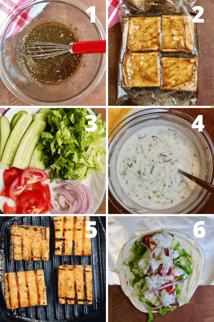 step by step photos how to make and assemble vegan gyros
