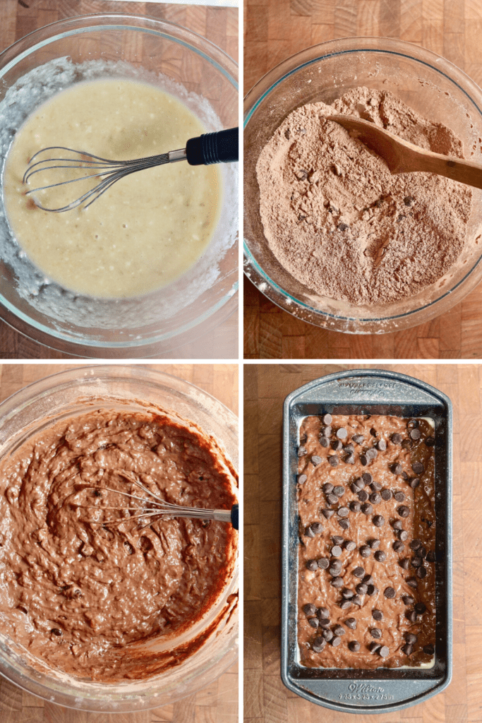 step by step photos how to make vegan chocolate banana bread