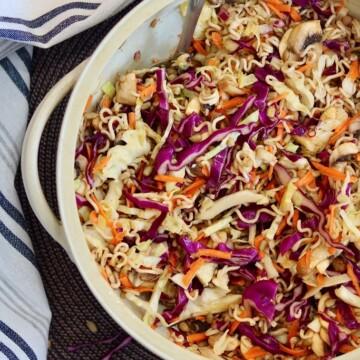 top view ramen noodle salad mixed in a salad bowl