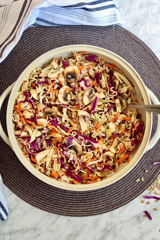 ramen noodle salad in a salad bowl