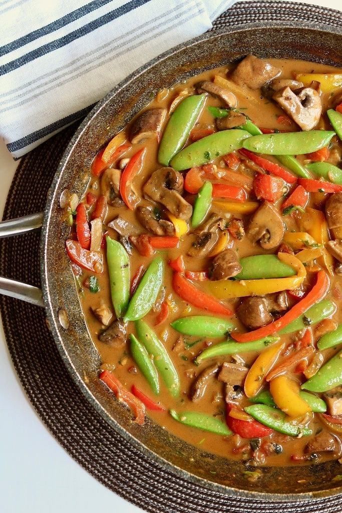 thai red curry in a large skillet