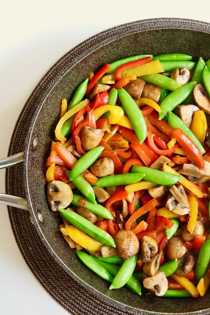 vegetables in a skillet for red curry