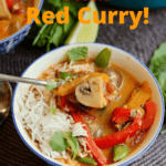 thai red curry in a bowl with a spoon