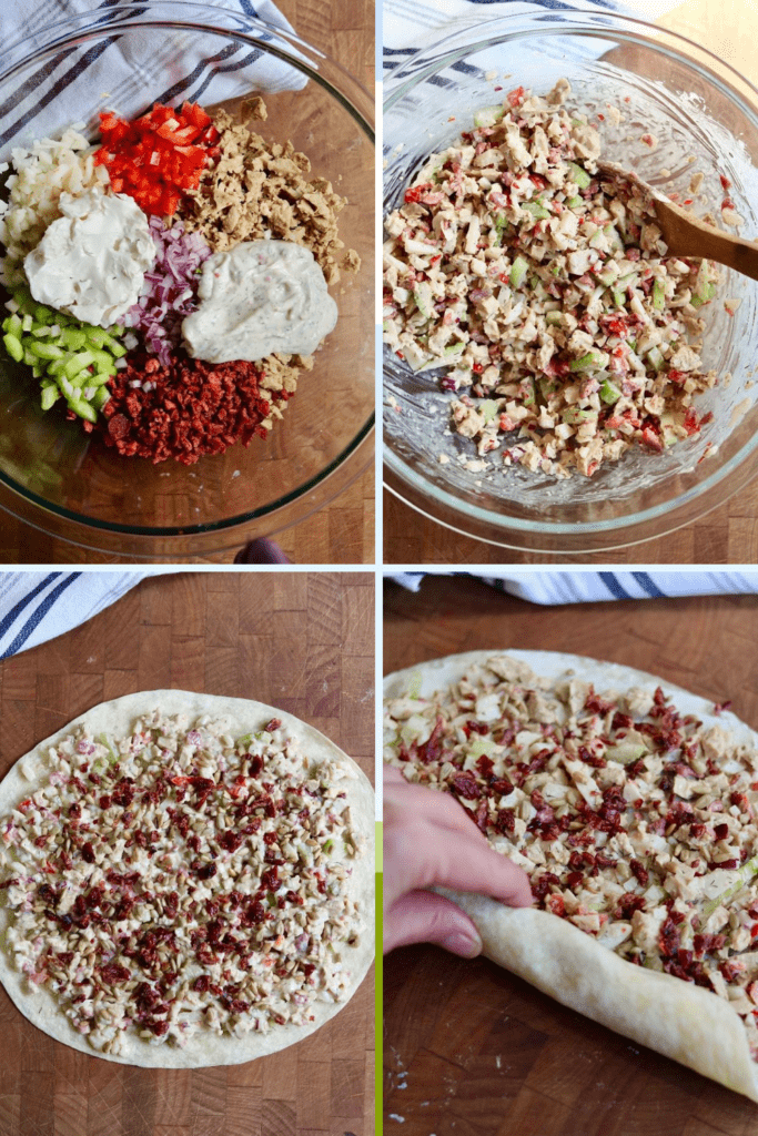 step by step photos how to make chicken bacon ranch vegan pinwheels