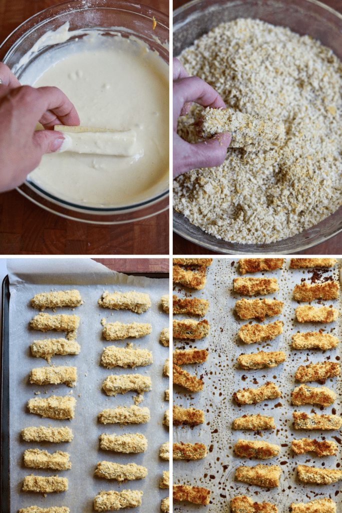 step by step photos how to batter zucchini fries and bake them