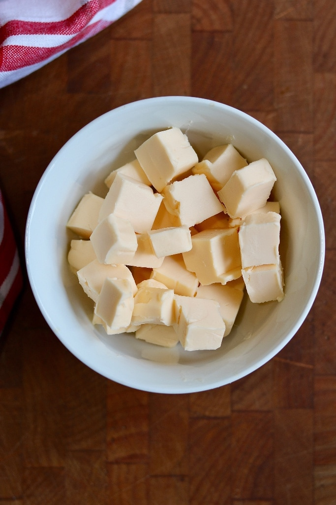 cubed vegan butter in a bowl