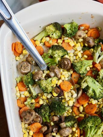 roasted vegetables baked in casserole dish