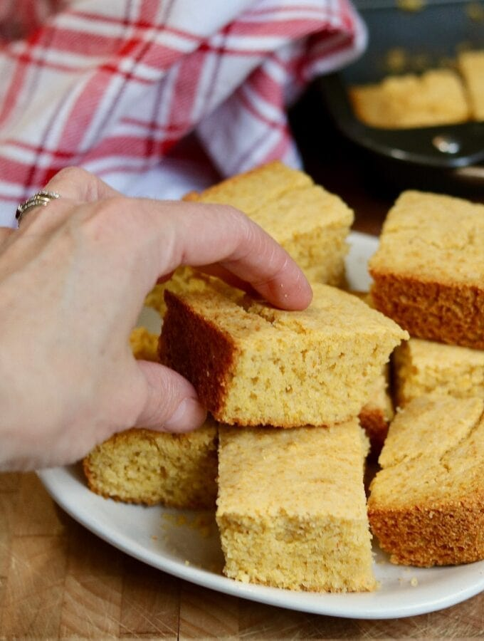 vegan cornbread ready to serve on a plate