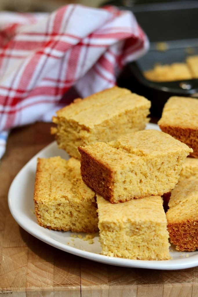 cornbread sliced into squares for serving