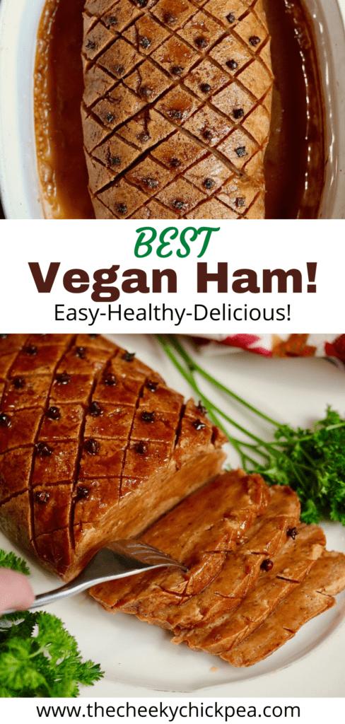 vegan ham roast sliced in a platter