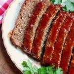 vegan meatloaf sliced on a platter