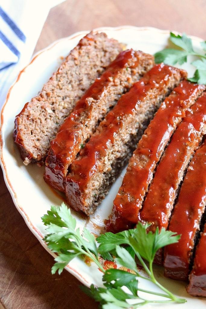 vegan meatloaf ready to serve on platter