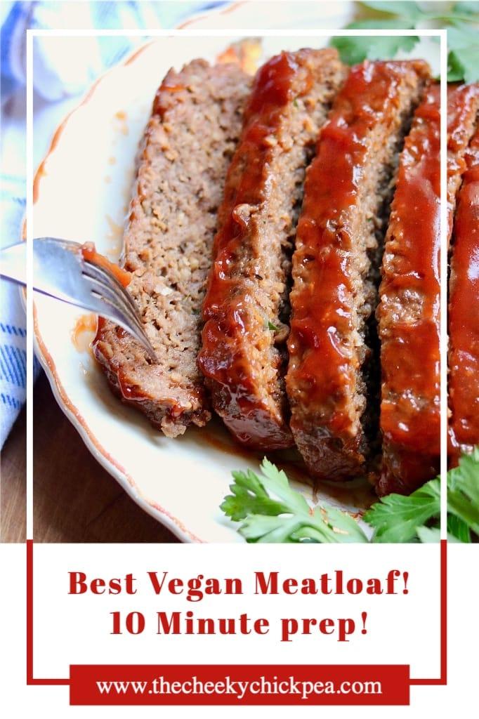 vegan meatloaf on a serving platter