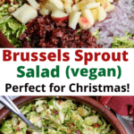 brussels sprout salad in a wooden bowl with serving spoons