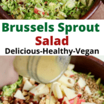 brussels sprouts salad tossed in a salad bowl