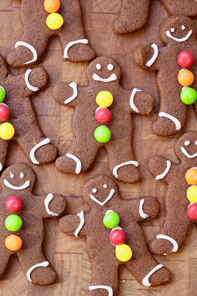 overhead view of decorated gingerbread men