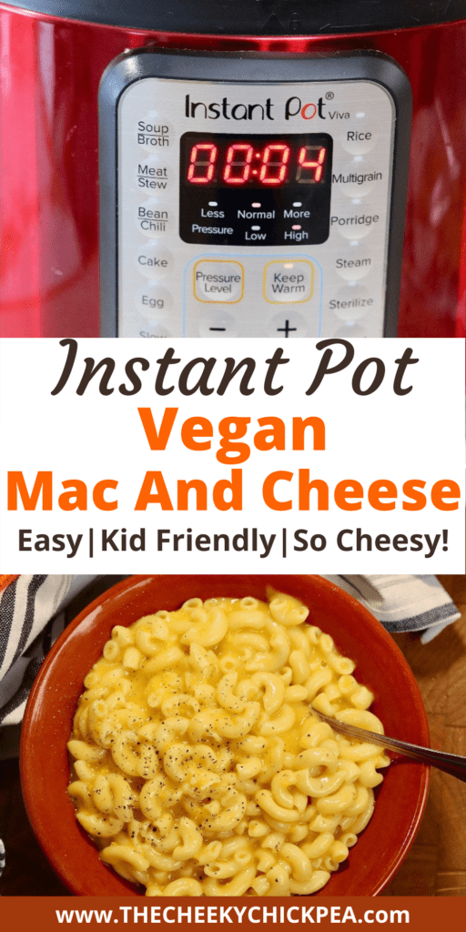 vegan mac and cheese in a bowl beside an instant pot