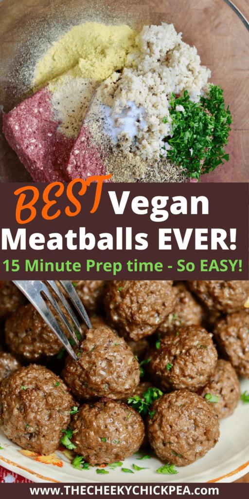 vegan meatballs on a serving platter