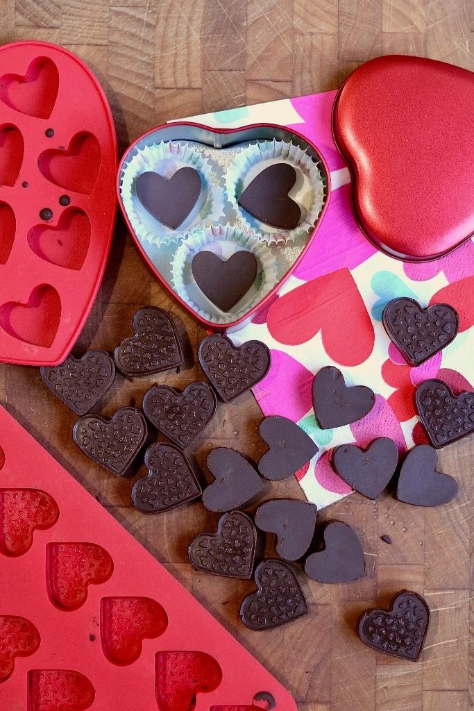 homemade chocolates unmolded on counter