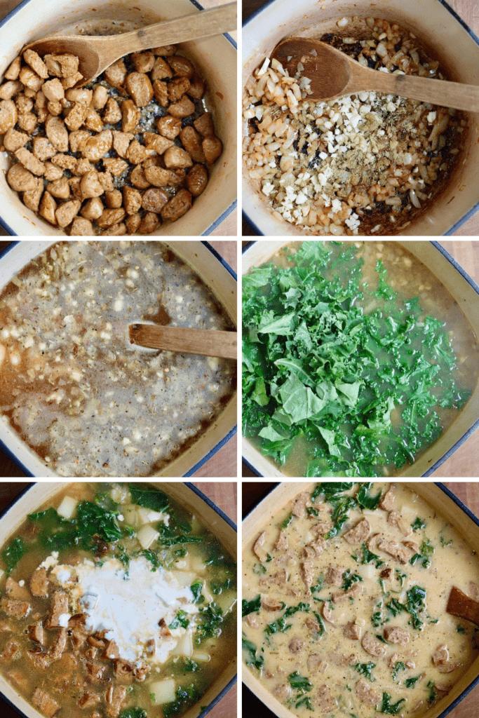 step by step photos how to make vegan zuppa toscana