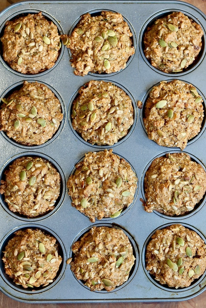 morning glory muffins baked in a muffin tin