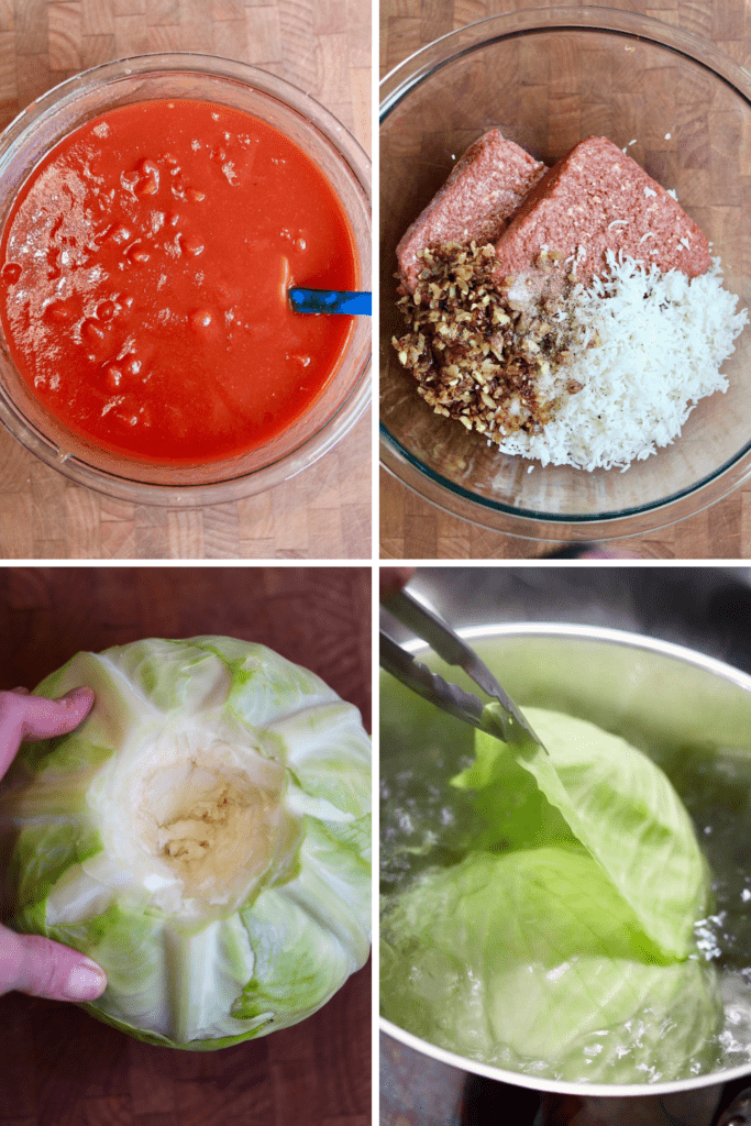 step by step photos how to make sauce meat filling and core and boil cabbage