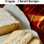 three slices of vegan coconut loaf on a cutting board